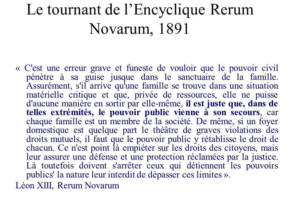 Le tournant de l'Encyclique Rerum Novarum, 1891