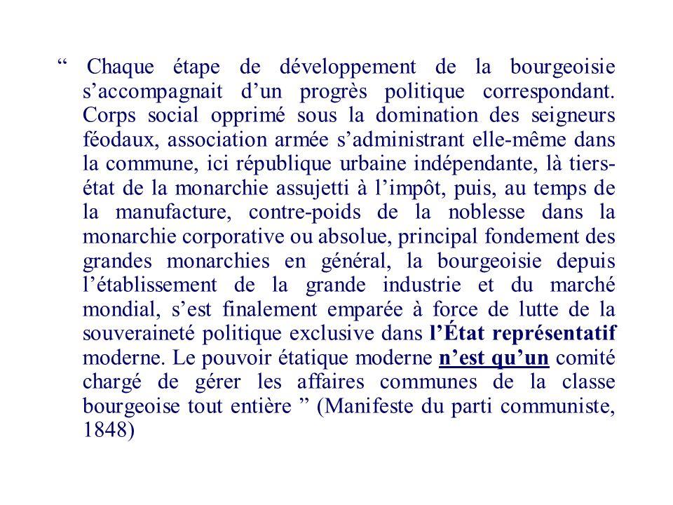 Chaque étape de développement de la bourgeoisie s'accompagnait d'un progrès politique correspondant.