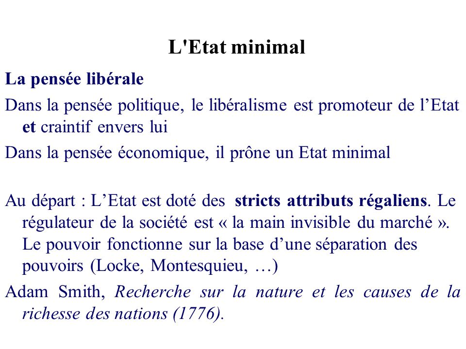L Etat minimal La pensée libérale