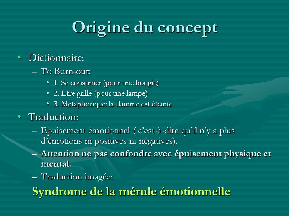 Origine du concept Syndrome de la mérule émotionnelle Dictionnaire: