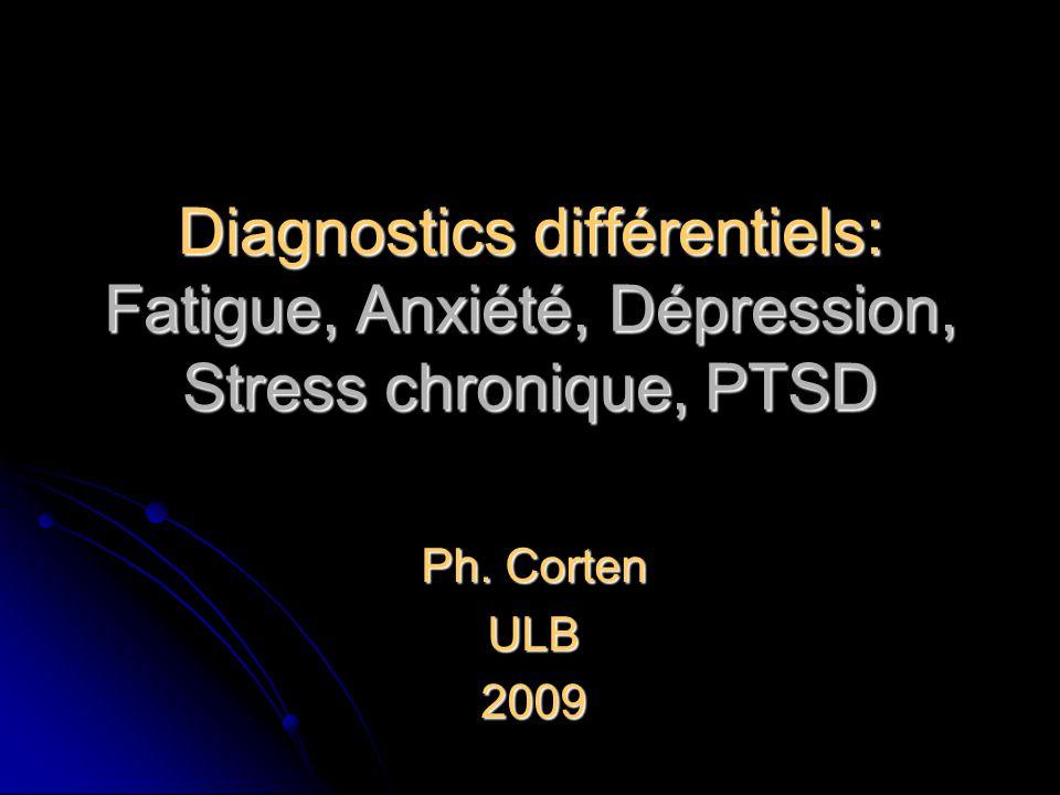 Diagnostics différentiels: Fatigue, Anxiété, Dépression, Stress chronique, PTSD