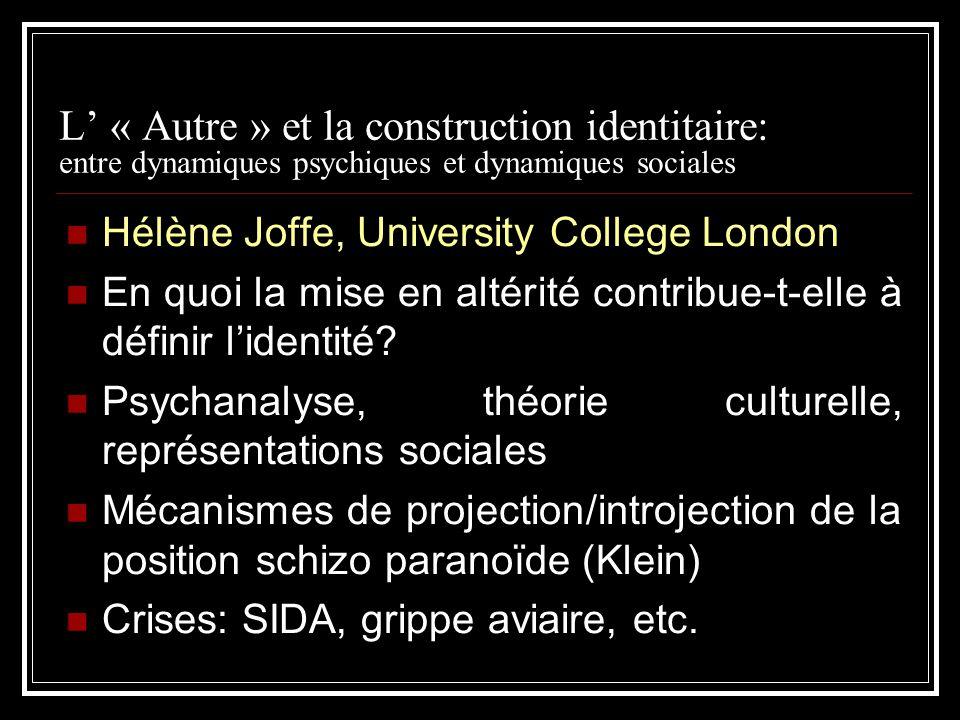 L' « Autre » et la construction identitaire: entre dynamiques psychiques et dynamiques sociales