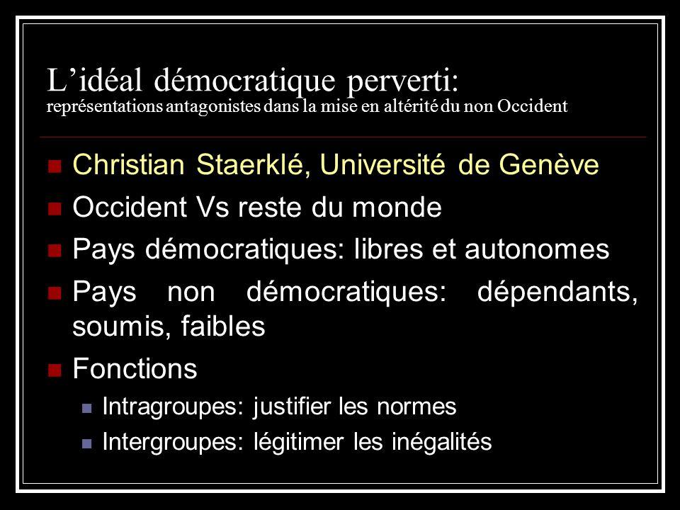 L'idéal démocratique perverti: représentations antagonistes dans la mise en altérité du non Occident