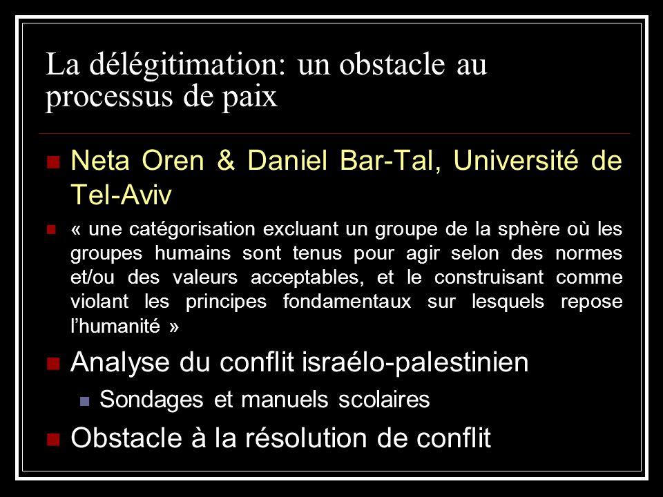 La délégitimation: un obstacle au processus de paix