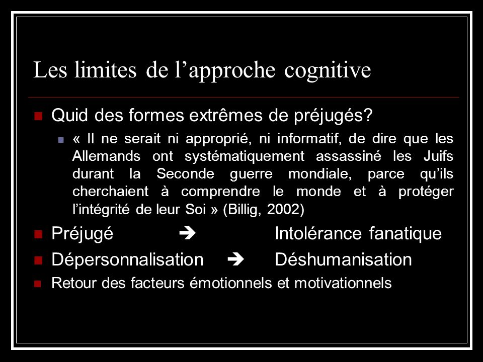 Les limites de l'approche cognitive
