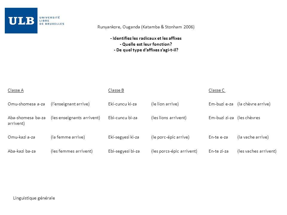 Runyankore, Ouganda (Katamba & Stonham 2006) - Identifiez les radicaux et les affixes - Quelle est leur fonction - De quel type d'affixes s'agi-t-il