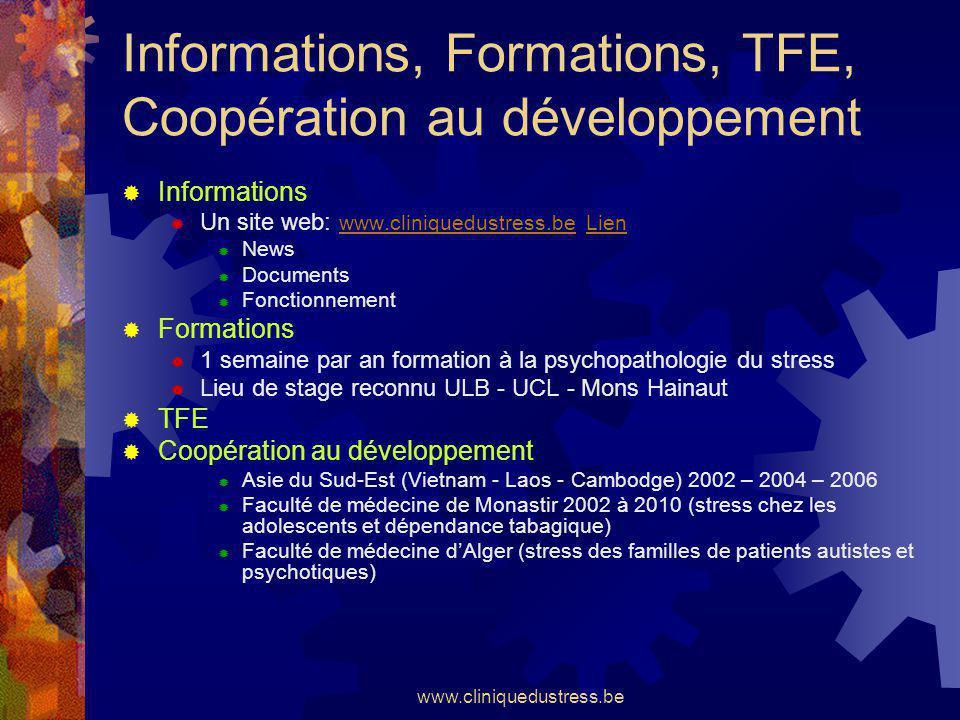 Informations, Formations, TFE, Coopération au développement