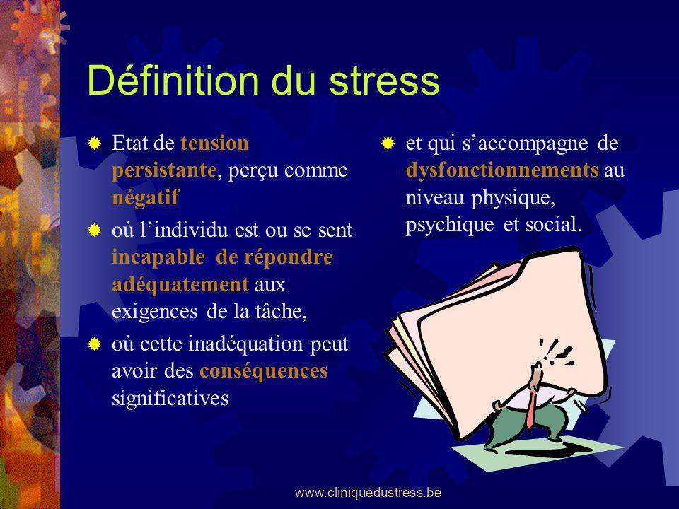 Définition du stress Etat de tension persistante, perçu comme négatif