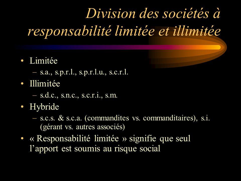 Division des sociétés à responsabilité limitée et illimitée