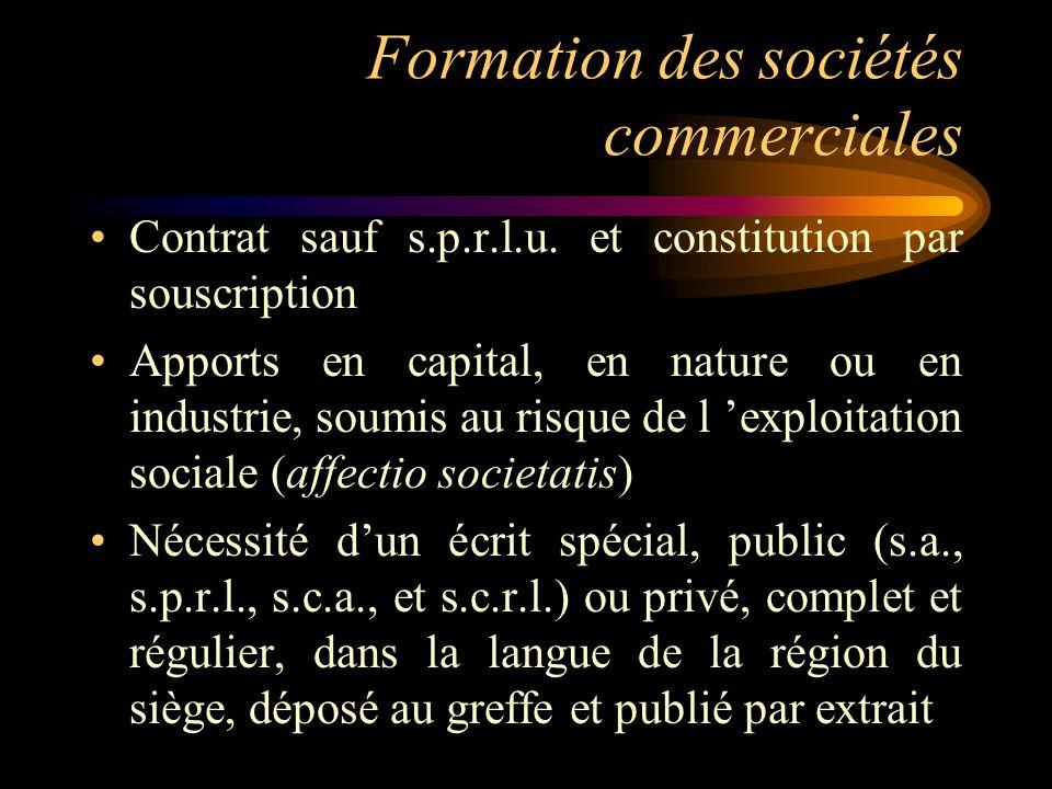Formation des sociétés commerciales