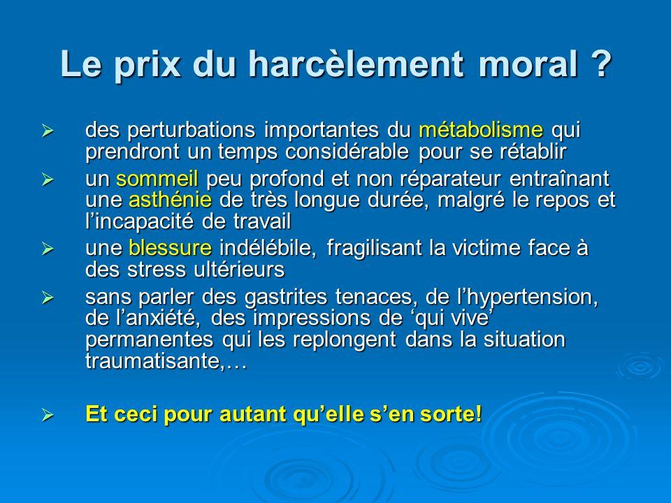 Le prix du harcèlement moral