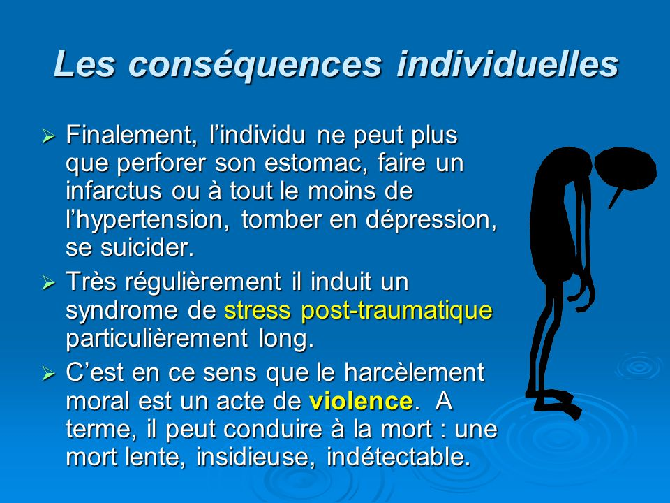 Les conséquences individuelles