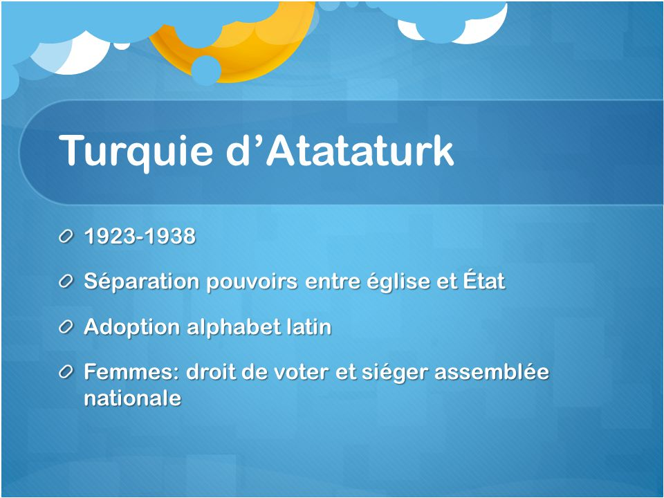 Turquie d'Atataturk 1923-1938 Séparation pouvoirs entre église et État