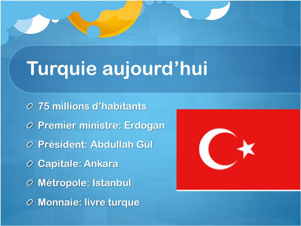 Turquie aujourd'hui 75 millions d'habitants Premier ministre: Erdogan