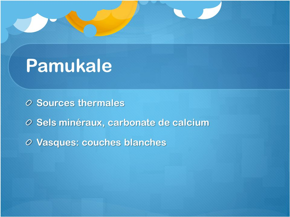 Pamukale Sources thermales Sels minéraux, carbonate de calcium