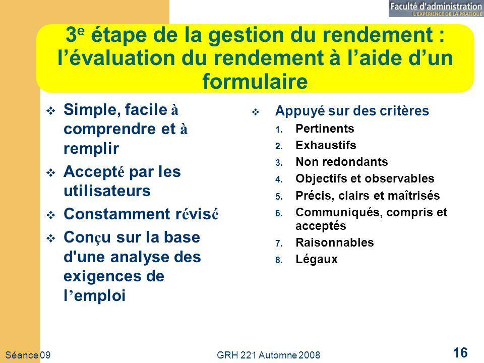 3e étape de la gestion du rendement : l'évaluation du rendement à l'aide d'un formulaire