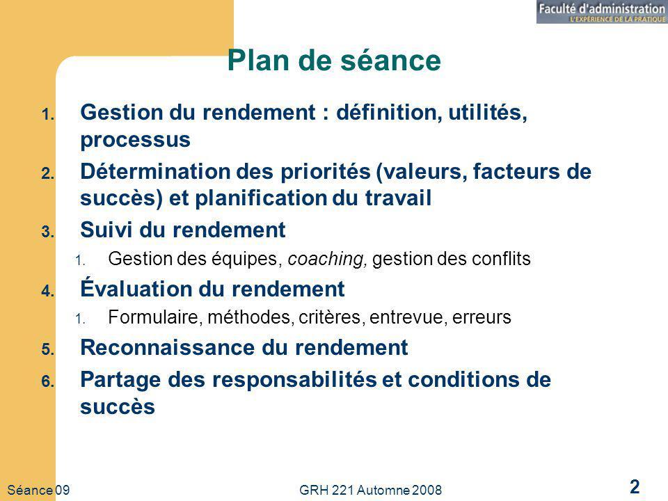 Plan de séance Gestion du rendement : définition, utilités, processus