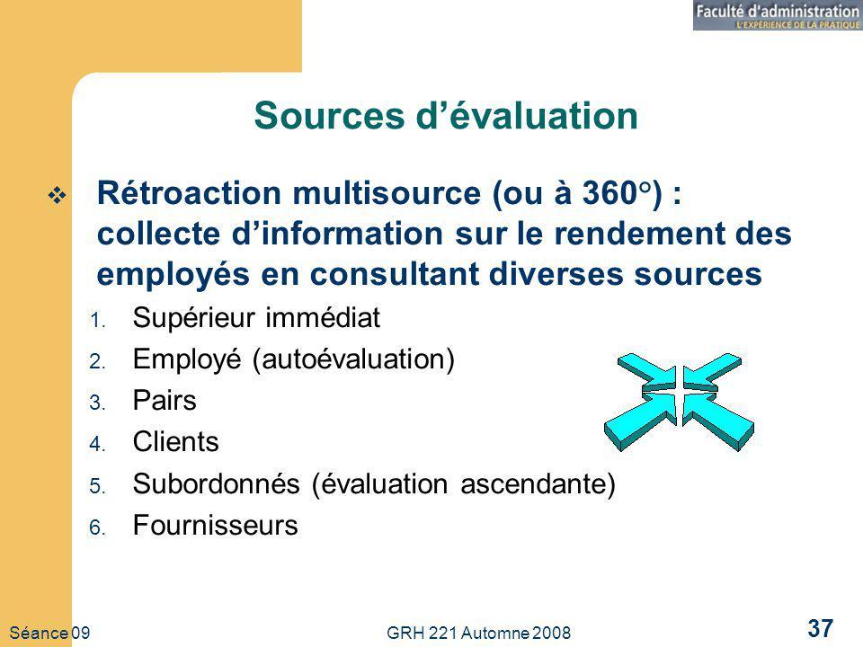 Sources d'évaluation Rétroaction multisource (ou à 360°) : collecte d'information sur le rendement des employés en consultant diverses sources.