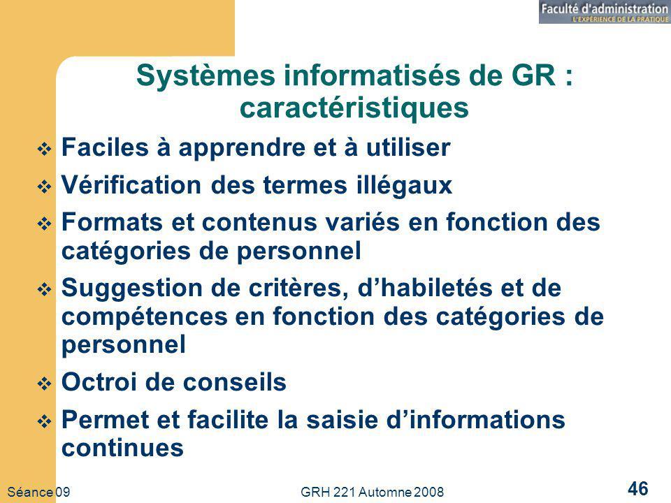 Systèmes informatisés de GR : caractéristiques