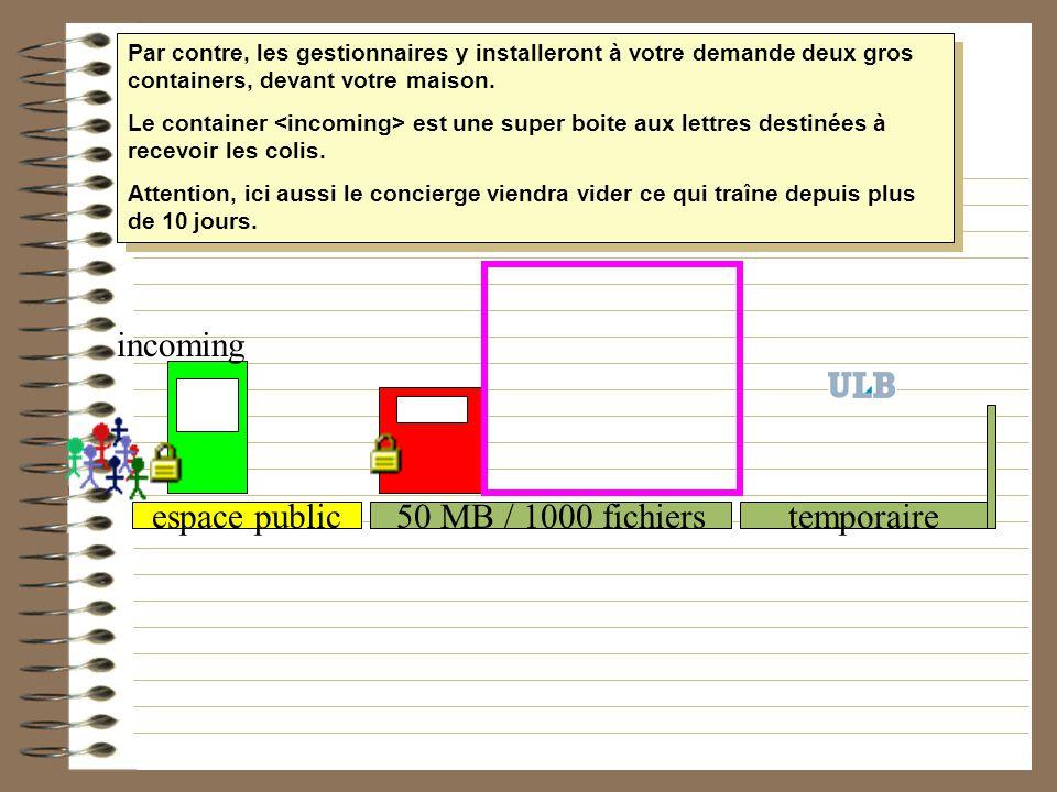 incoming espace public 50 MB / 1000 fichiers temporaire