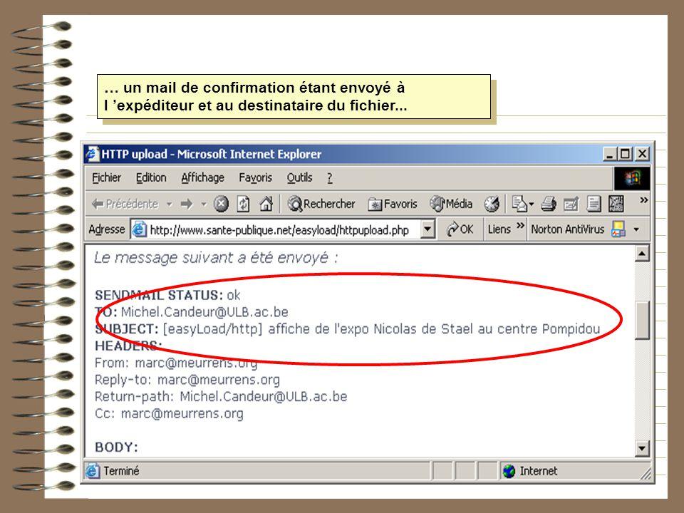 … un mail de confirmation étant envoyé à l 'expéditeur et au destinataire du fichier...