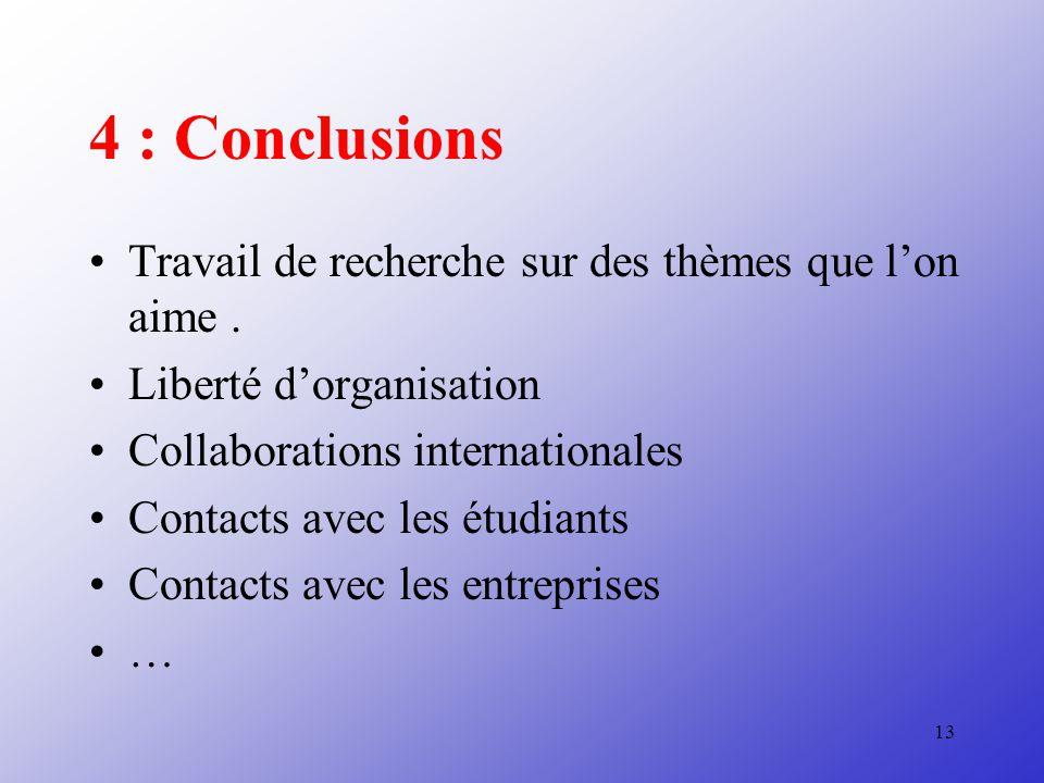 4 : Conclusions Travail de recherche sur des thèmes que l'on aime .