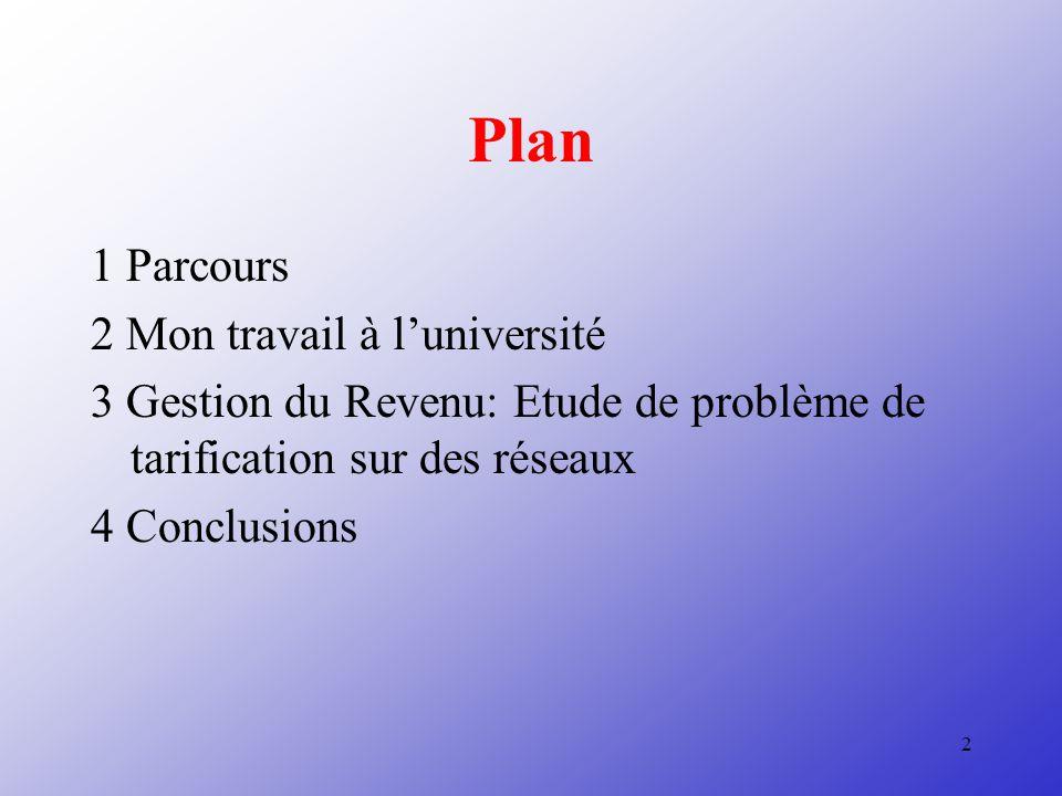 Plan 1 Parcours 2 Mon travail à l'université