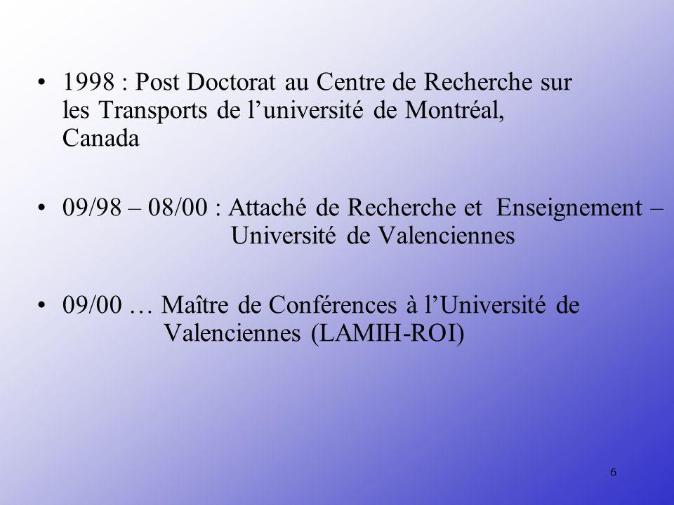 1998 : Post Doctorat au Centre de Recherche sur