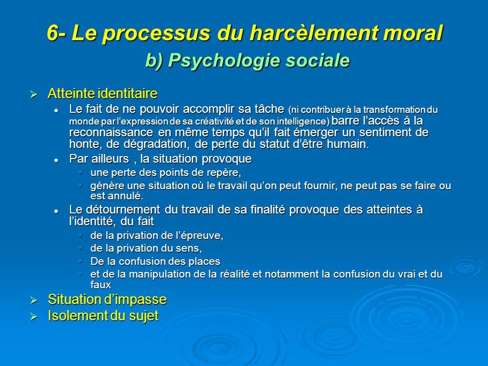 6- Le processus du harcèlement moral b) Psychologie sociale