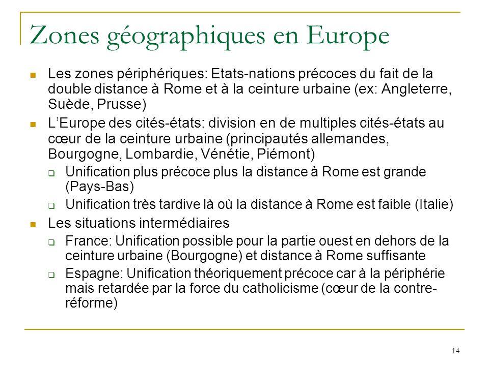 Zones géographiques en Europe