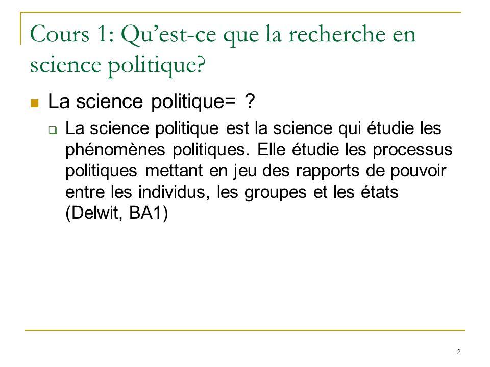 Cours 1: Qu'est-ce que la recherche en science politique