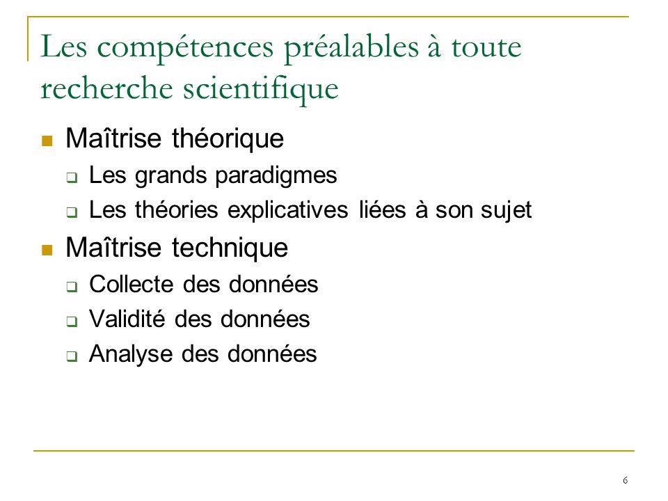 Les compétences préalables à toute recherche scientifique