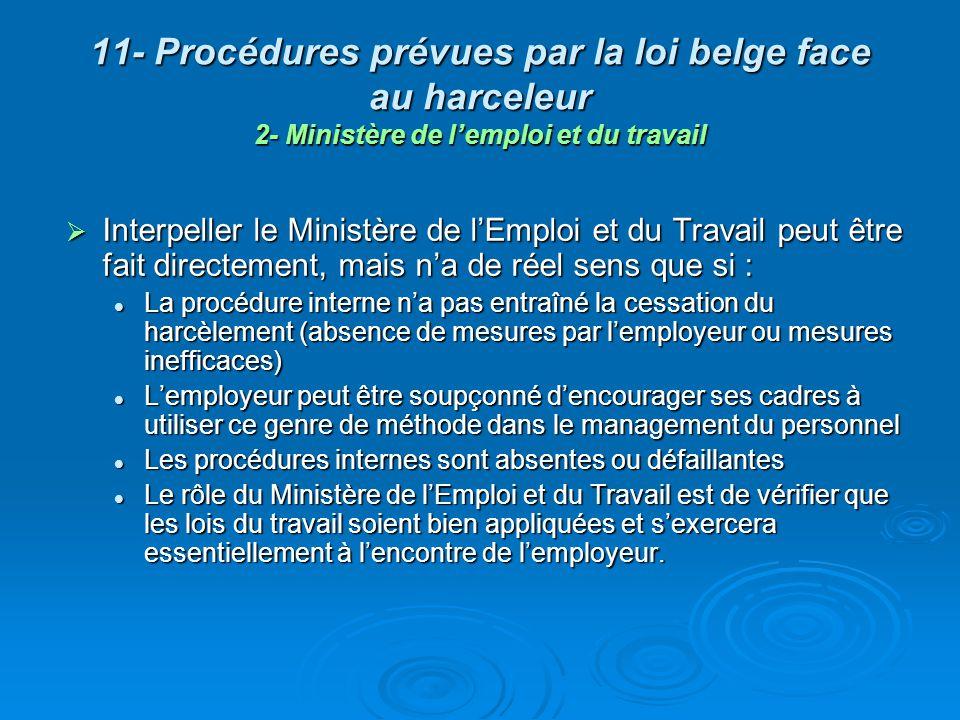 11- Procédures prévues par la loi belge face au harceleur 2- Ministère de l'emploi et du travail