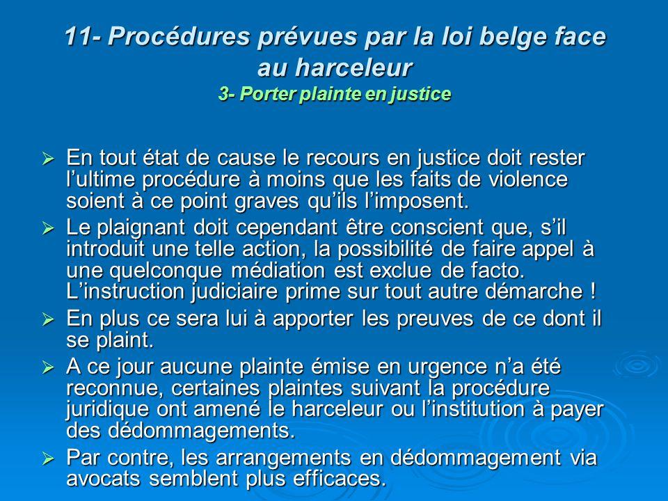 11- Procédures prévues par la loi belge face au harceleur 3- Porter plainte en justice