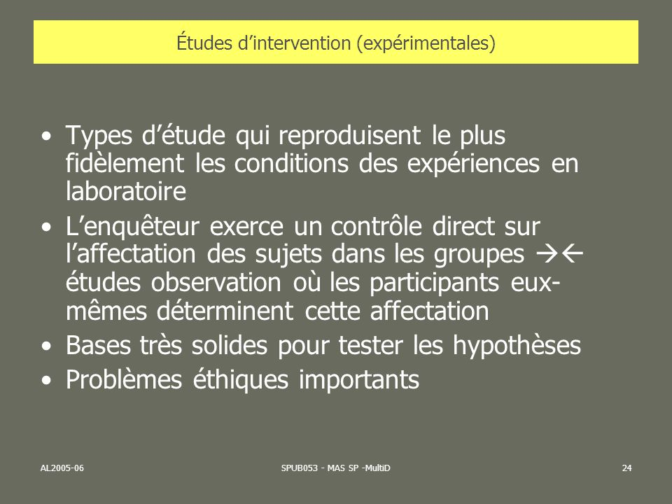 Études d'intervention (expérimentales)