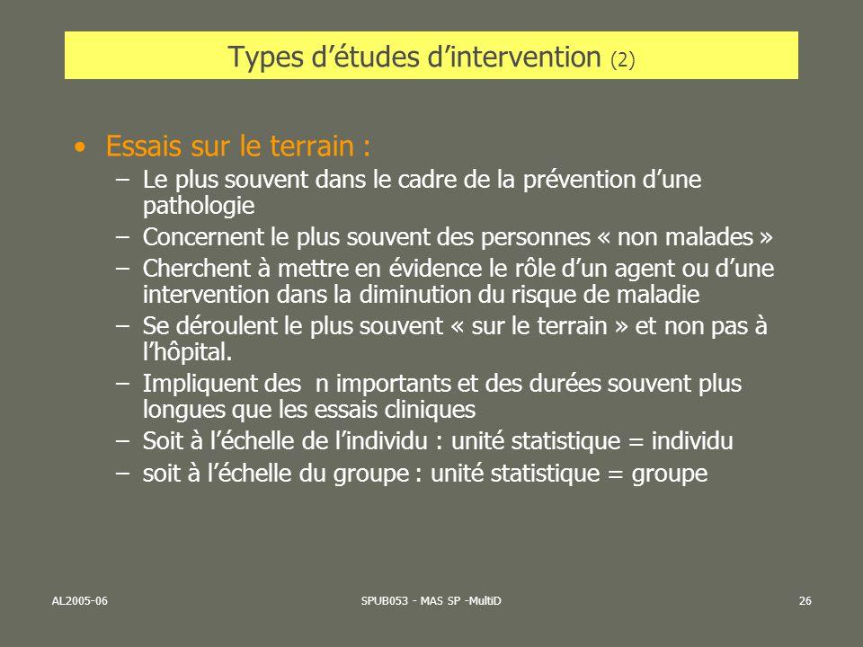 Types d'études d'intervention (2)