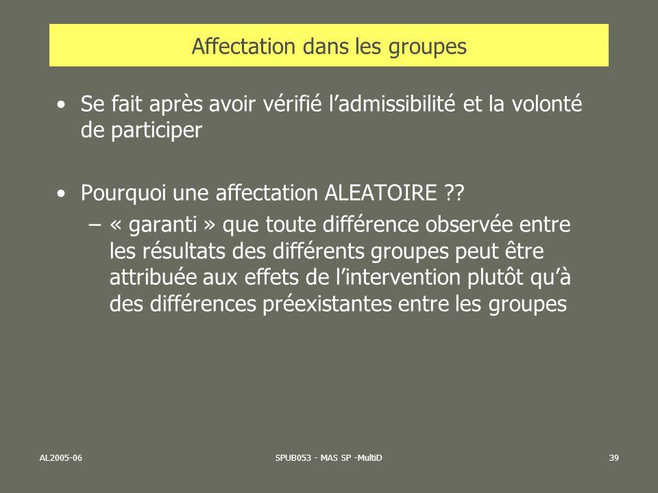 Affectation dans les groupes