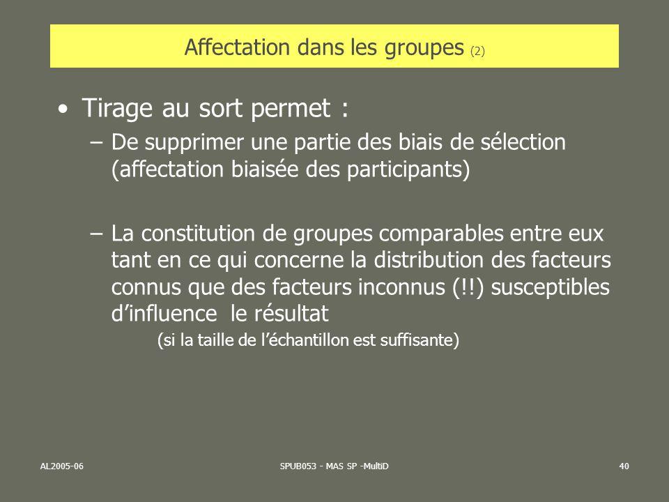 Affectation dans les groupes (2)