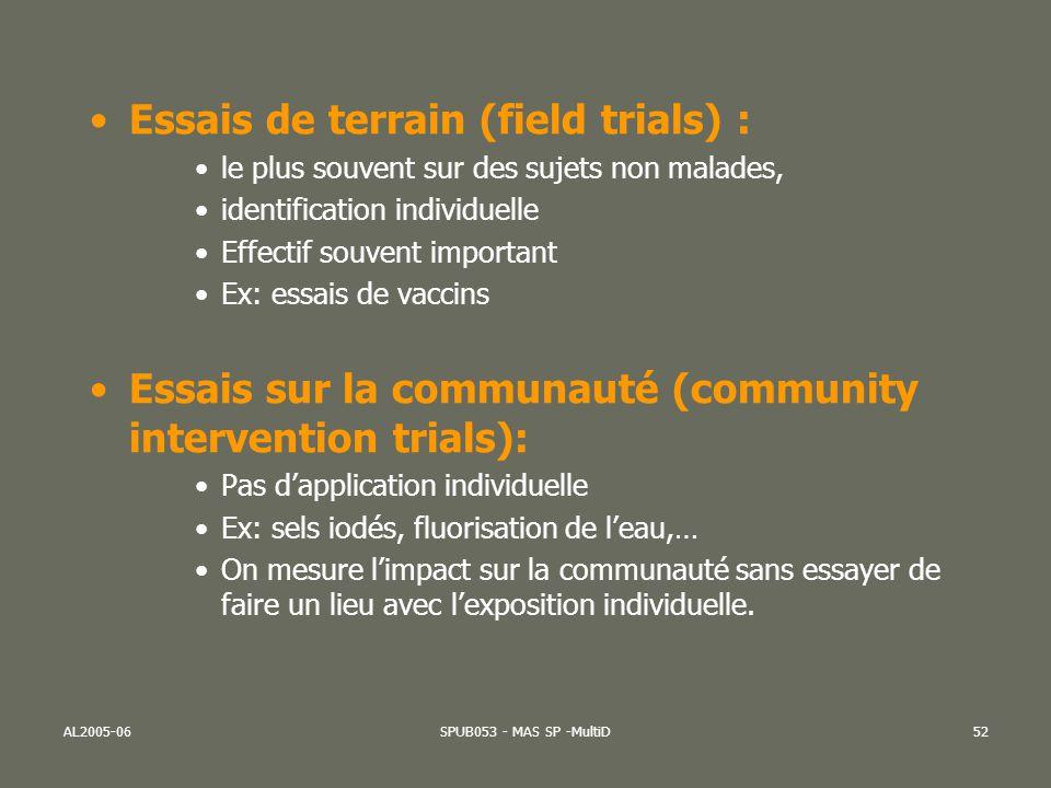 Essais de terrain (field trials) :