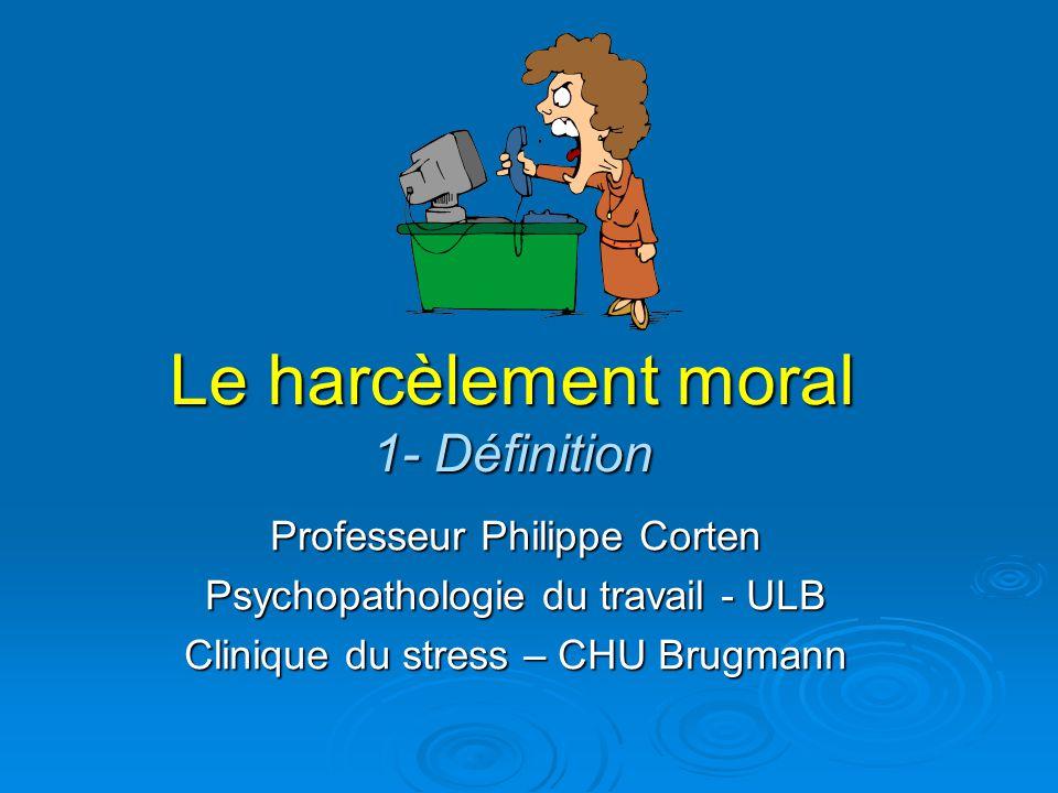 Le harcèlement moral 1- Définition