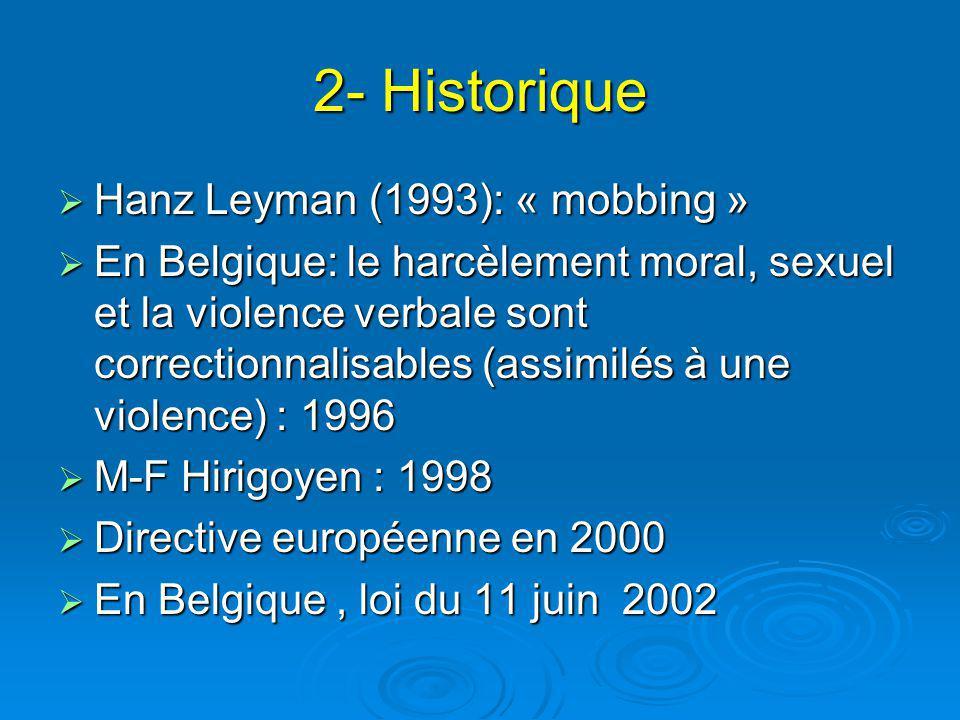2- Historique Hanz Leyman (1993): « mobbing »