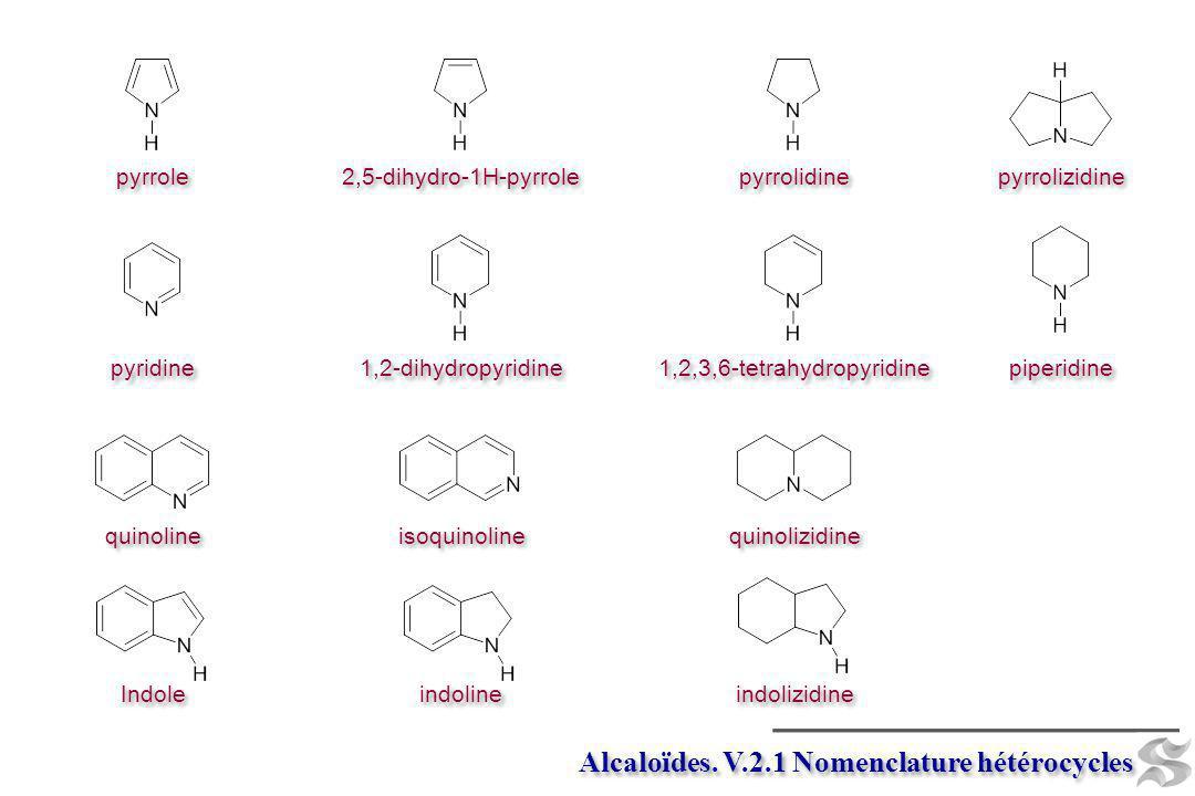 Alcaloïdes. V.2.1 Nomenclature hétérocycles