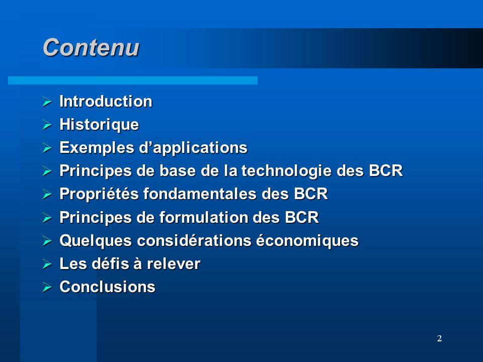 Contenu Introduction Historique Exemples d'applications