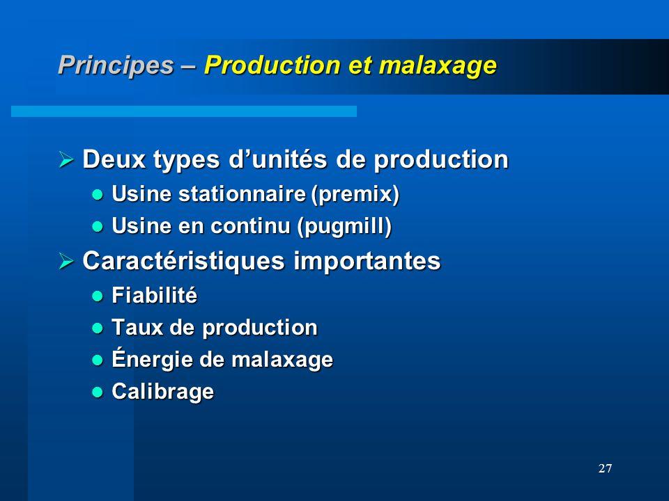 Principes – Production et malaxage