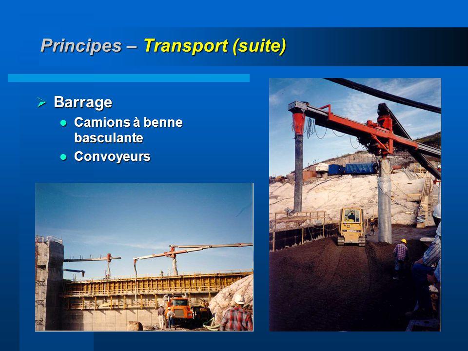 Principes – Transport (suite)