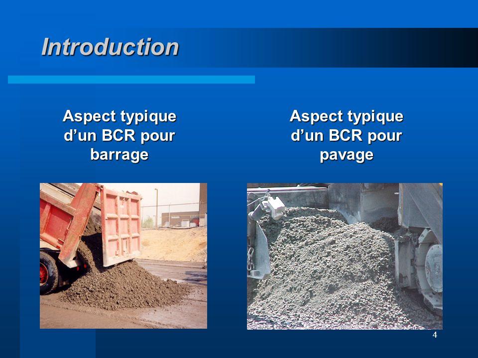 Introduction Aspect typique d'un BCR pour barrage