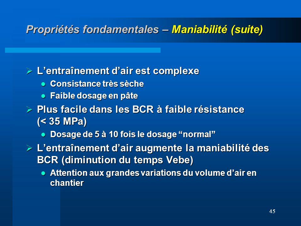 Propriétés fondamentales – Maniabilité (suite)