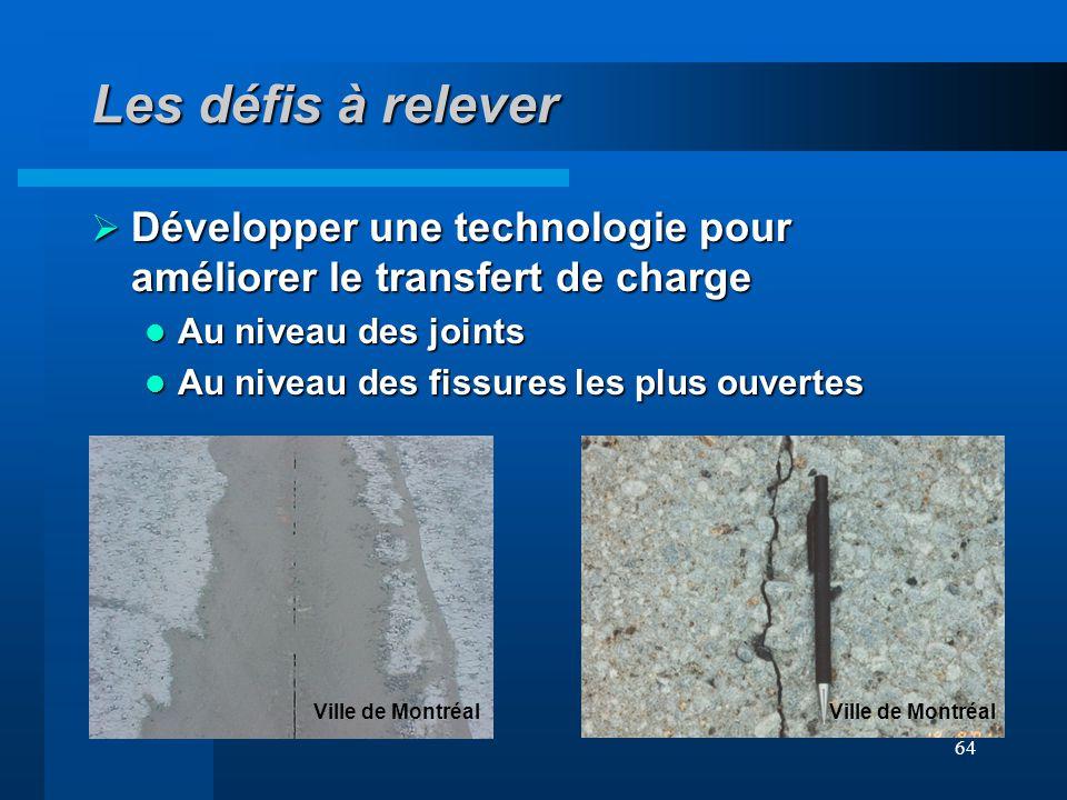 Les défis à relever Développer une technologie pour améliorer le transfert de charge. Au niveau des joints.