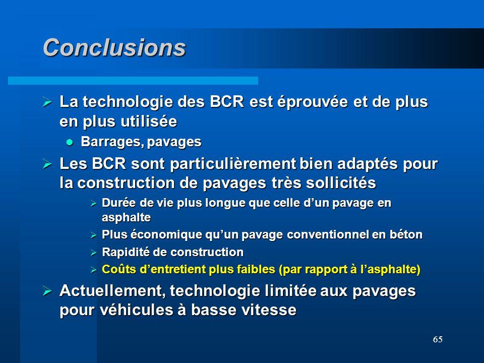 Conclusions La technologie des BCR est éprouvée et de plus en plus utilisée. Barrages, pavages.