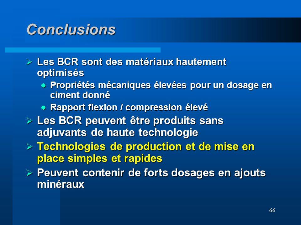 Conclusions Les BCR sont des matériaux hautement optimisés. Propriétés mécaniques élevées pour un dosage en ciment donné.